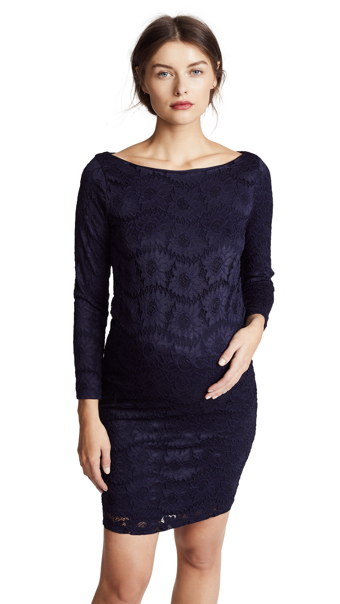 Buy Ingrid & Isabel online - photo of Ingrid & Isabel Boat Neck Lace Maternity Dress