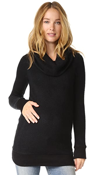 INGRID & ISABEL Cowl Neck Maternity Sweater in Black