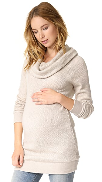 Ingrid & Isabel Cowl Neck Maternity Sweater In Oatmeal Heather