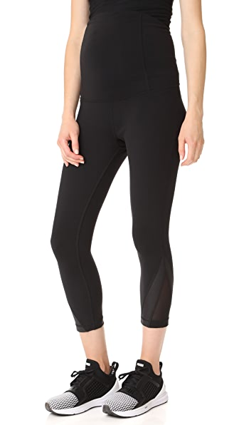 Ingrid & Isabel Active Mesh Detail Capri with Crossover Panel - Black
