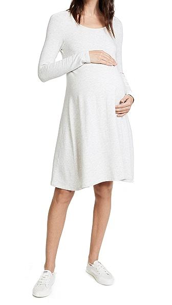 Ingrid & Isabel Trapeze Sweatshirt Dress In Light Oatmeal Heather