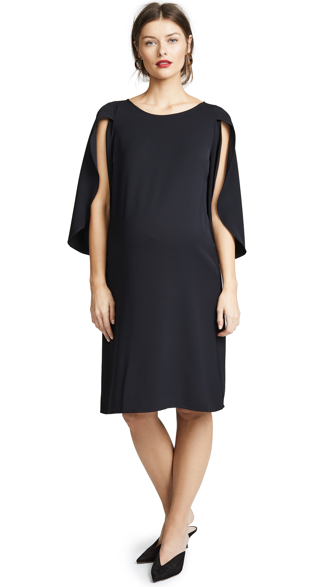 Ingrid & Isabel Tulip Sleeve Shift Dress In Jet Black