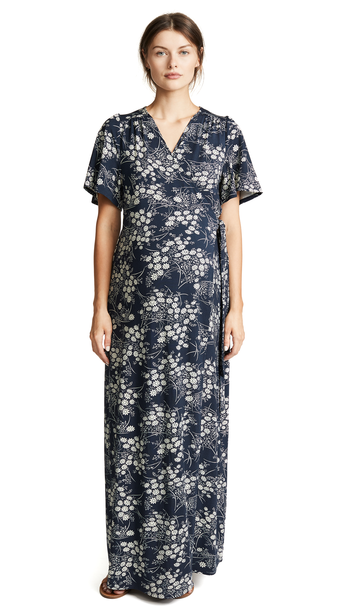 Ingrid & Isabel Flutter Sleeve Knit Wrap Maternity Maxi Dress In Navy Vintage Daisy
