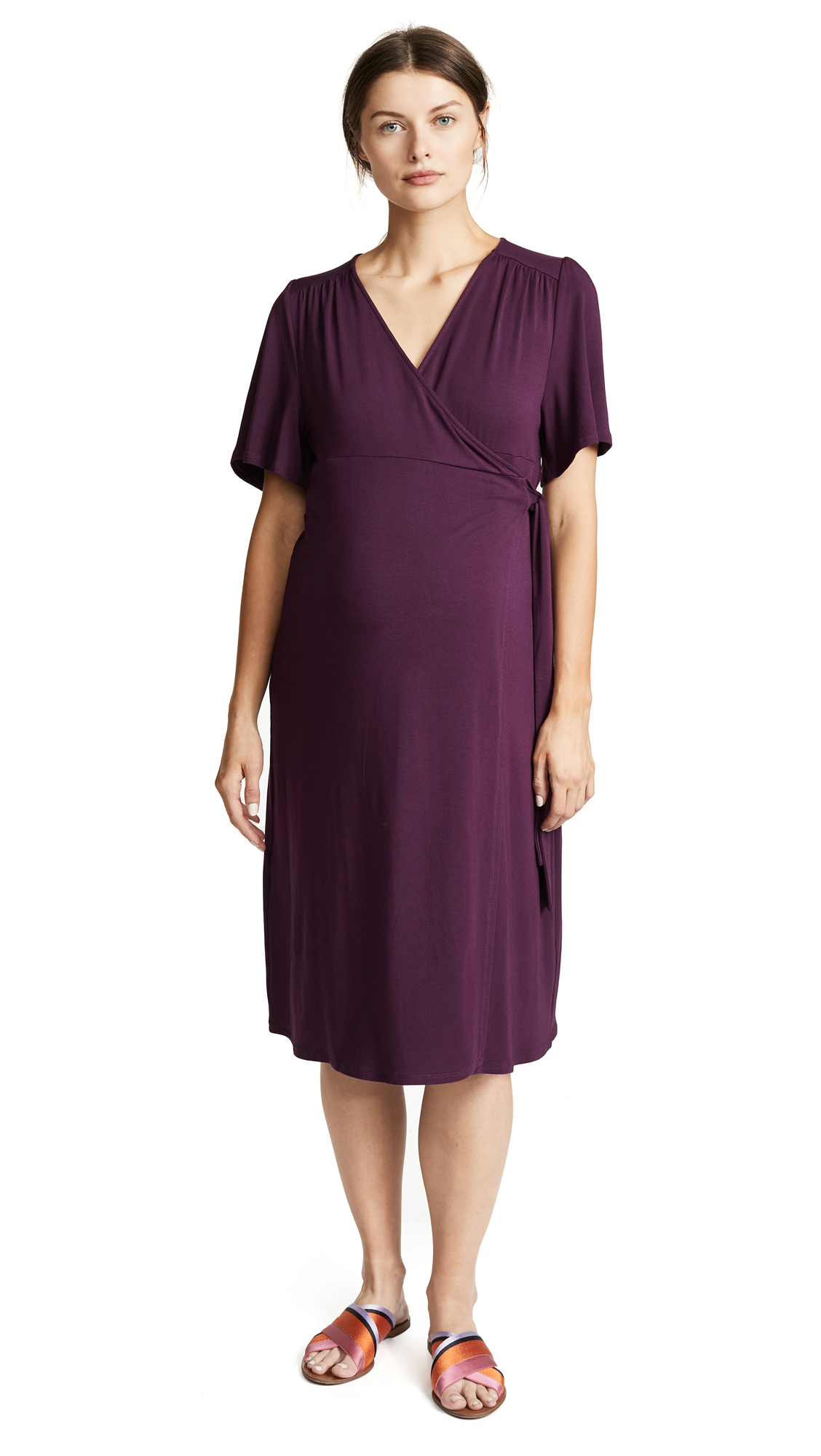 INGRID & ISABEL Flutter Sleeve Knit Maternity Wrap Dress in Plum
