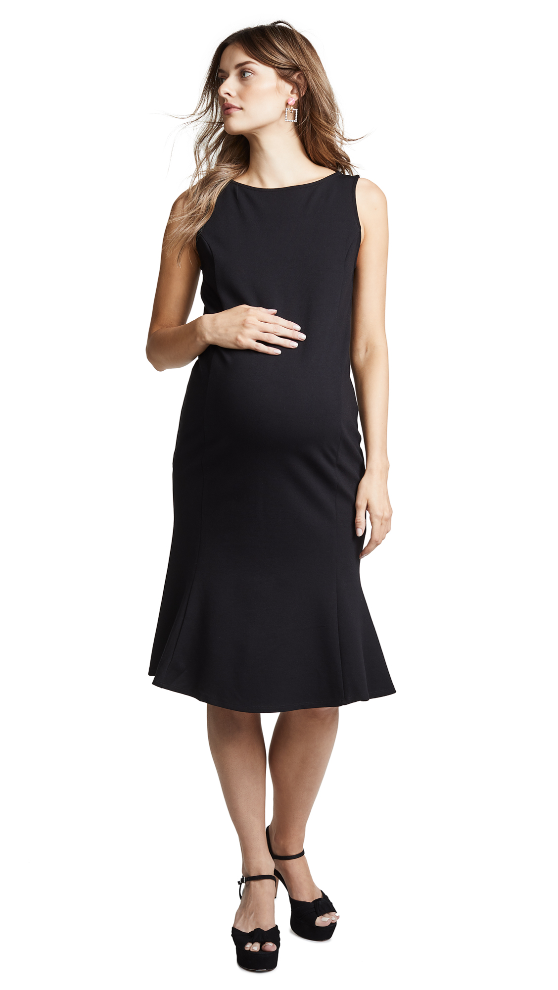 INGRID & ISABEL Tulip Hem Ponte Maternity Dress in Jet Black