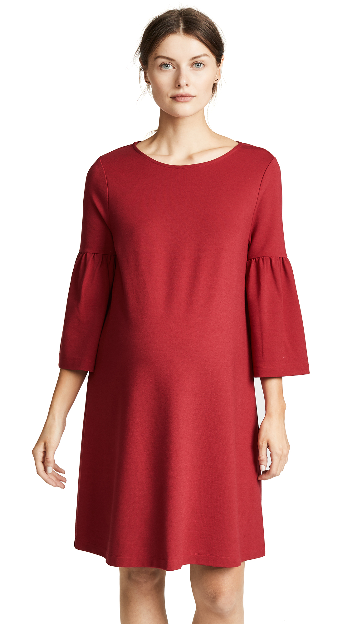 Ingrid & Isabel Ponte Bell Sleeve Maternity Dress In Bright Crimson