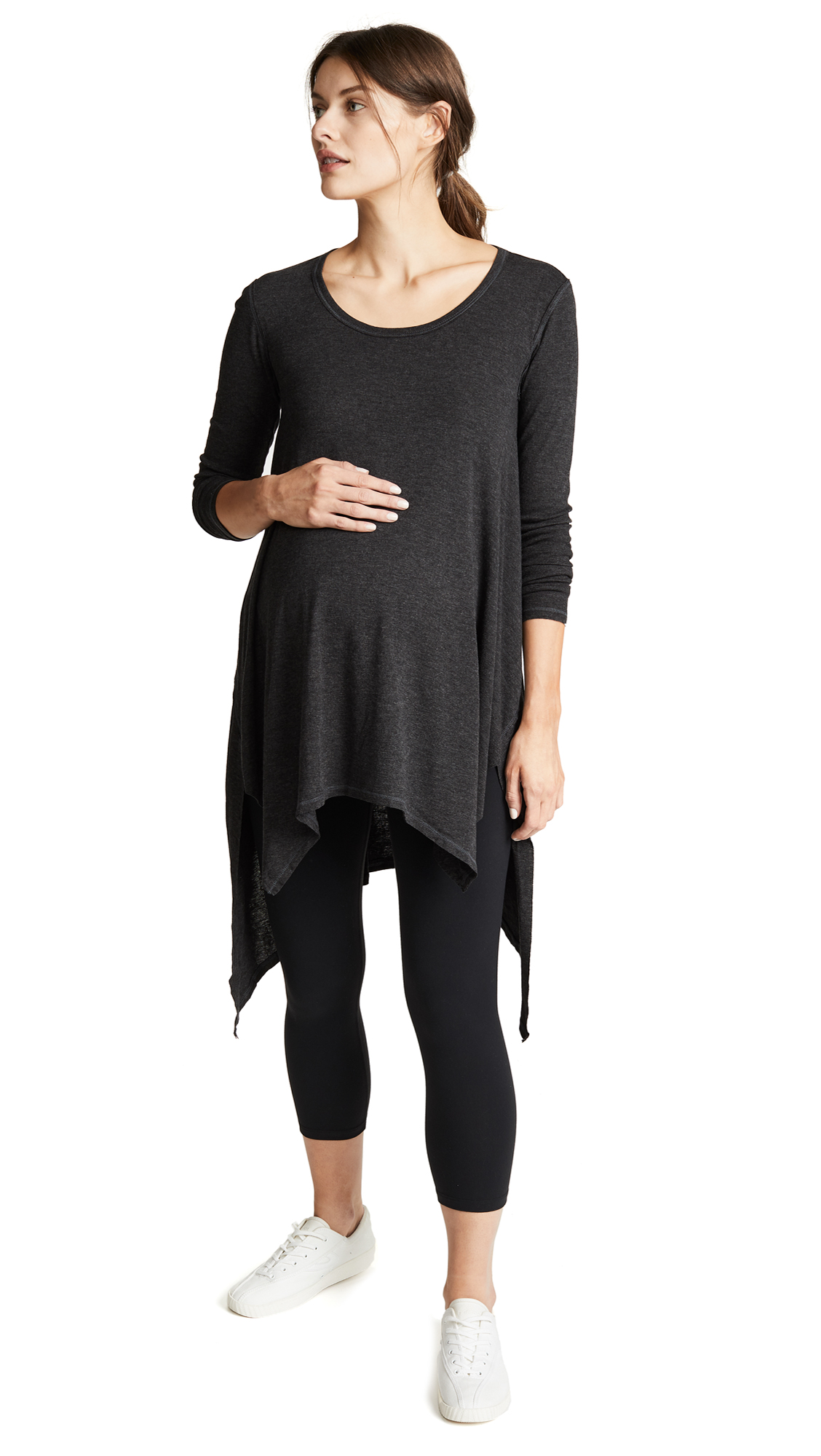 INGRID & ISABEL Handkerchief Tunic in Dark Heather