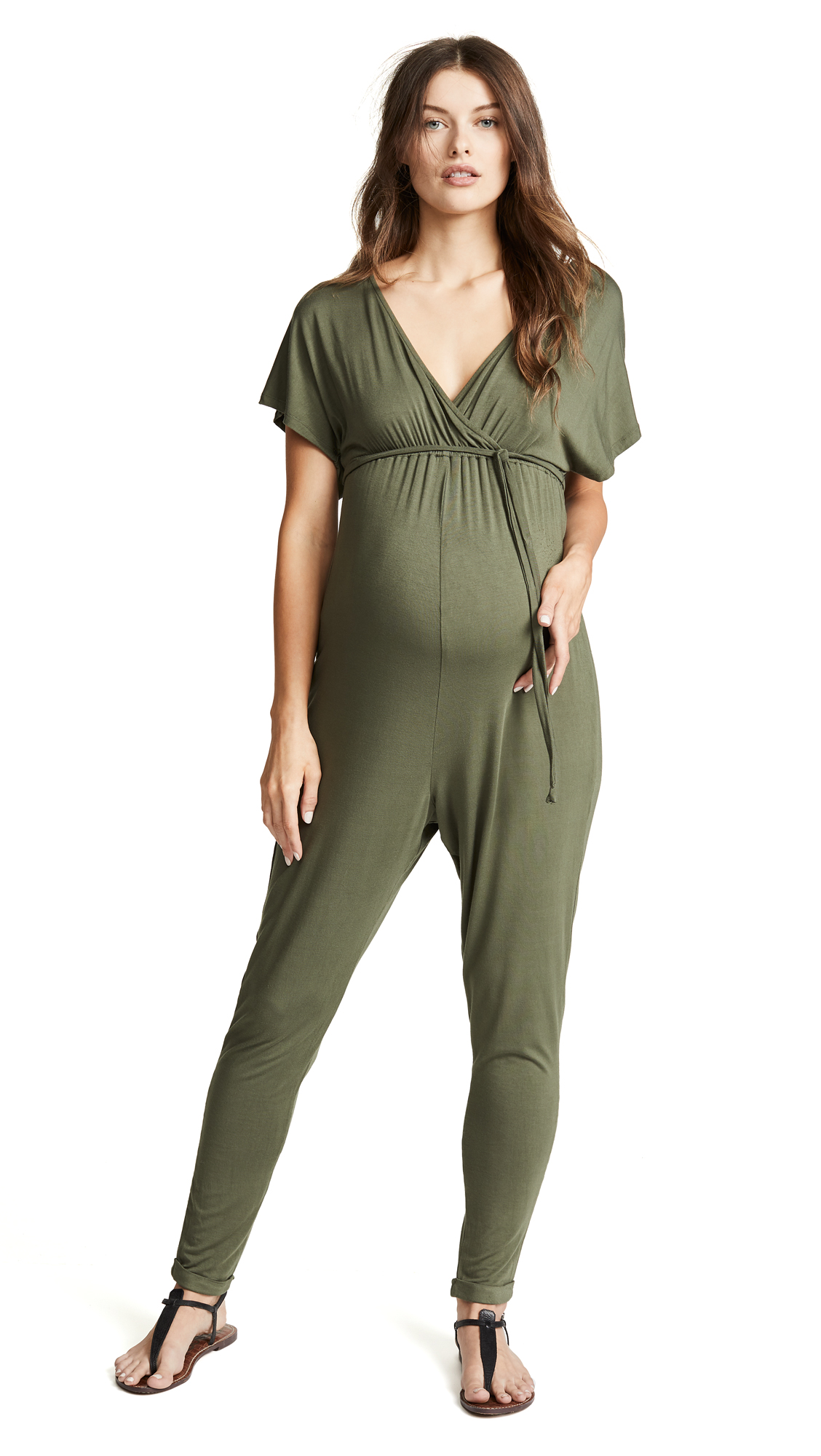 Maternity Cross Front Jumpsuit in Olive