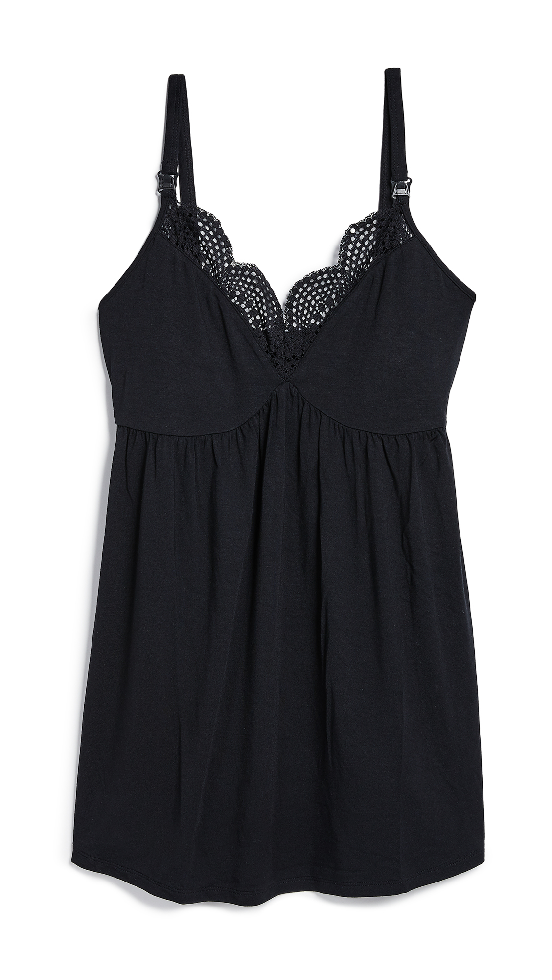 INGRID & ISABEL Maternity Lace-Trimmed Nursing Cami in Black