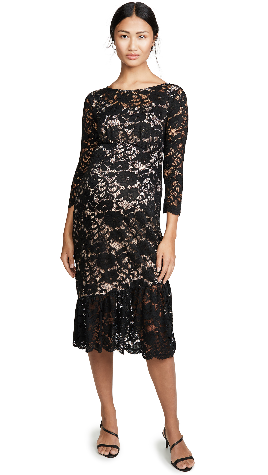 Buy Ingrid & Isabel online - photo of Ingrid & Isabel 3/4 Sleeve Flounce Hem Lace Dress