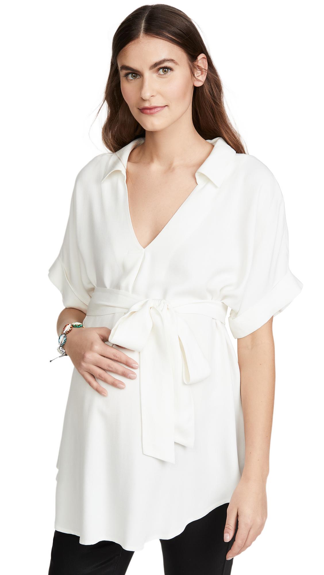 Ingrid & Isabel Popover Tie Waist Maternity Shirt