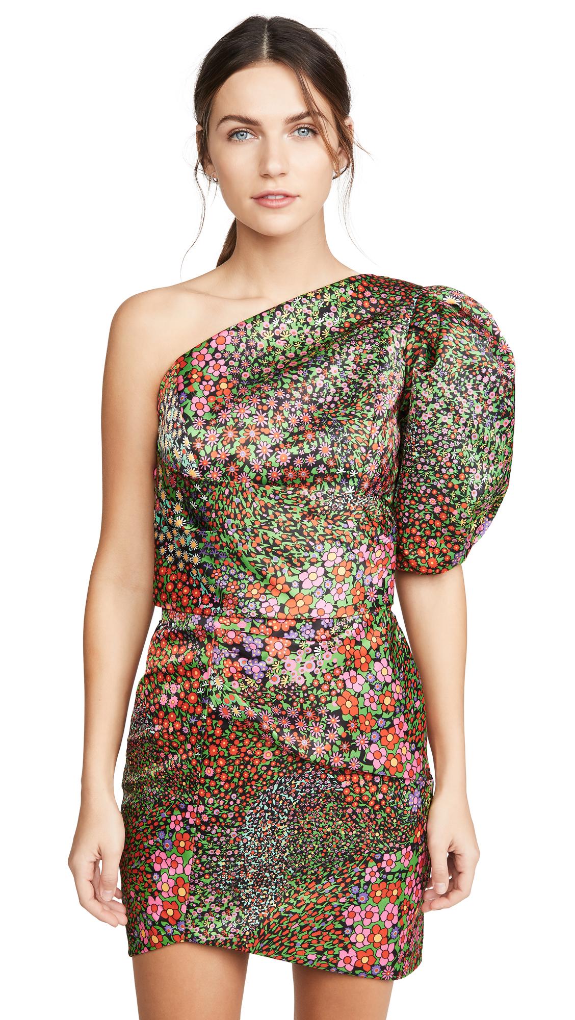 IORANE Multicolor Floral One Shoulder Mini Dress - 50% Off Sale