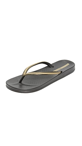 Ipanema Ana Metallic II Flip Flops - Black/Gold