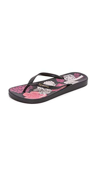 Ipanema Ana Bloom Flip Flops - Black/Black