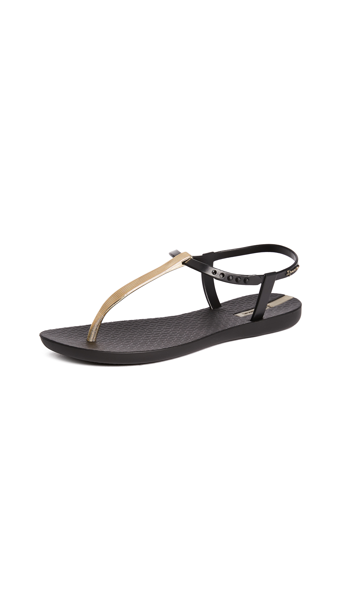 Ipanema Bandeau T-Strap Sandals - Black/Gold