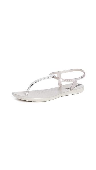 Ipanema Bandeau T-Strap Sandals In Silver/Silver