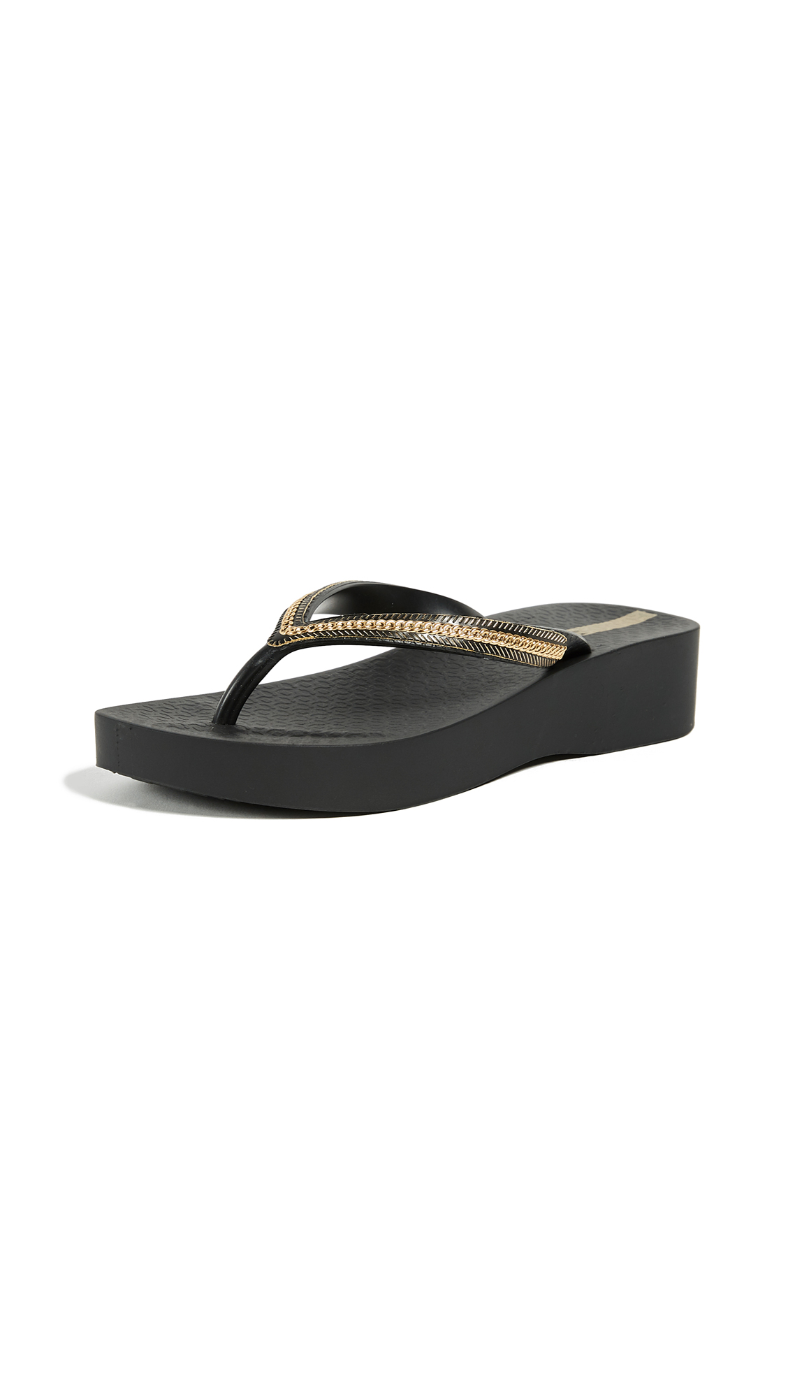 Ipanema Mesh Wedge Flip Flops - Black/Black