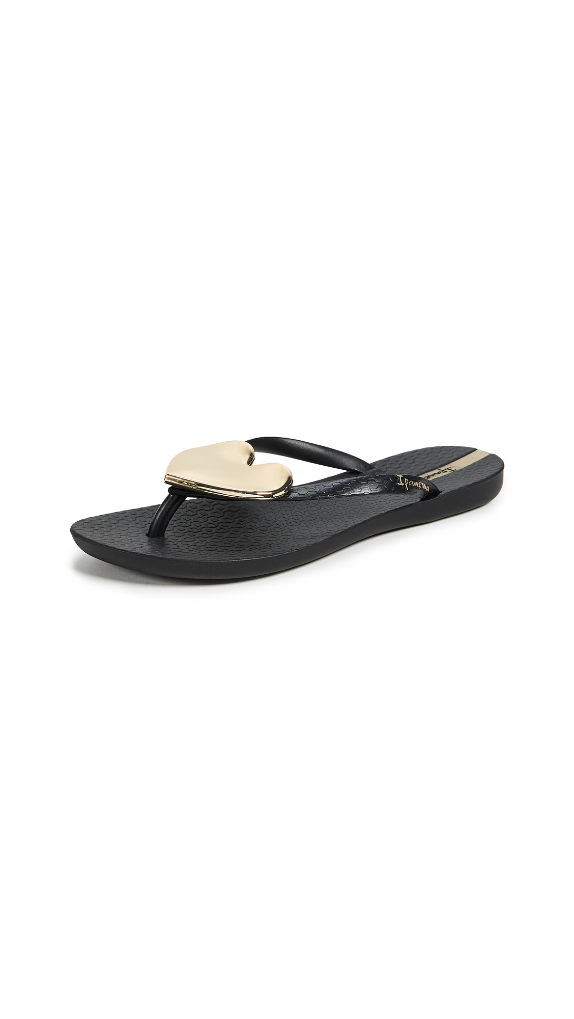 Ipanema Wave Heart Flip Flops - Black/Gold