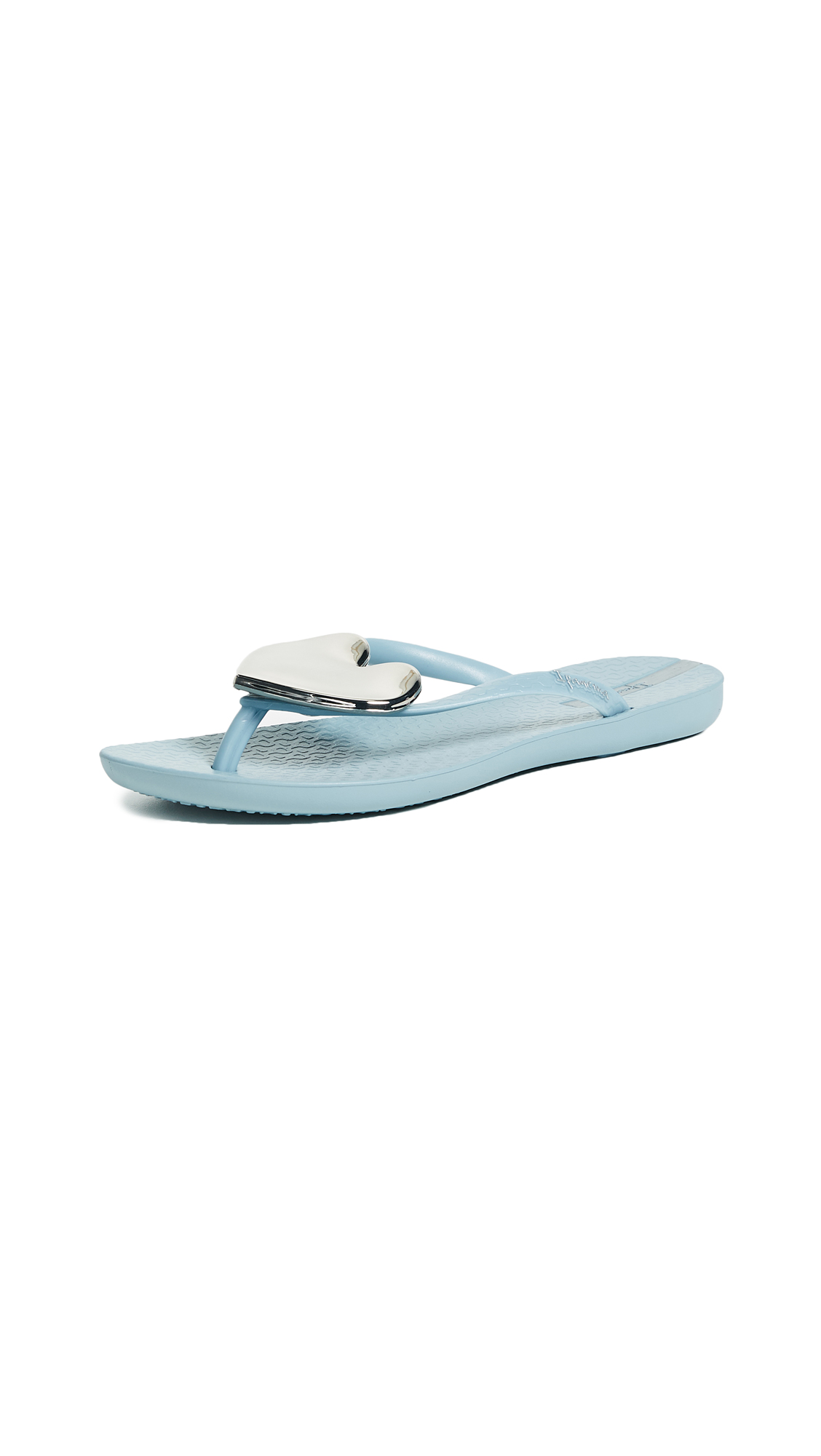 Ipanema Wave Heart Flip Flops - Gray/Silver