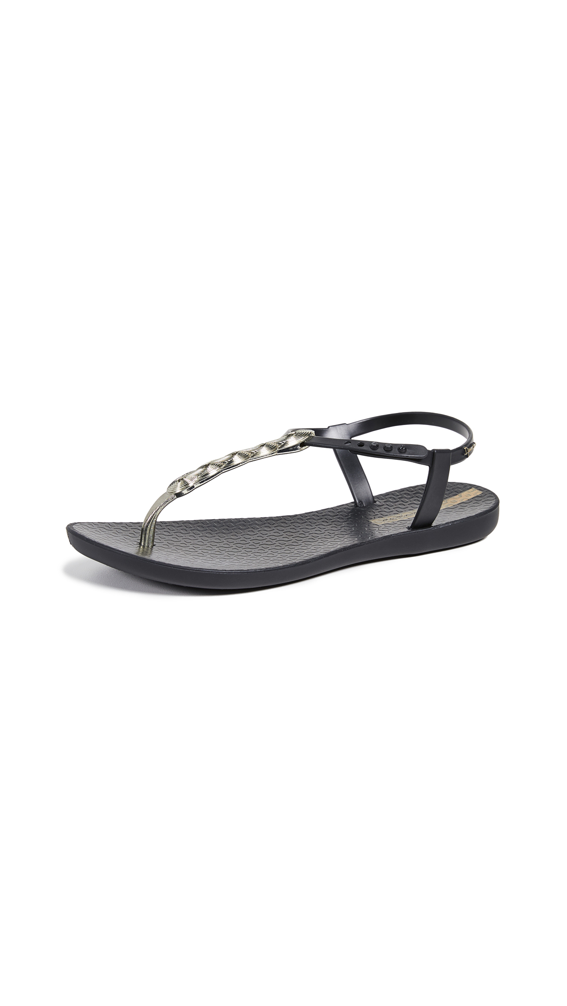Ipanema Braid T-Strap Sandals - Black/Gold