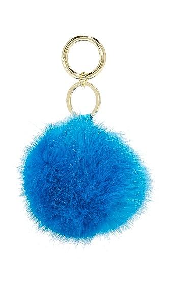 Iphoria Faux Fur Bag Charm - Blue