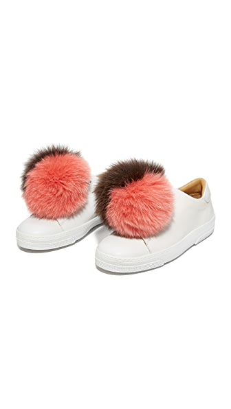 Iphoria Fox Fur Sneaker Charm Set - Pink/Olive