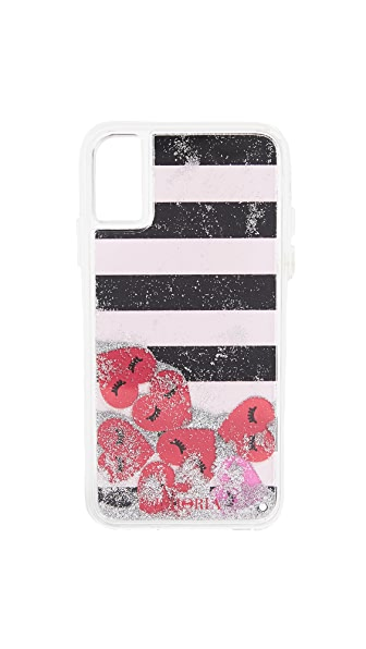 Iphoria Heart Stripes iPhone X Case In Black/White/Red