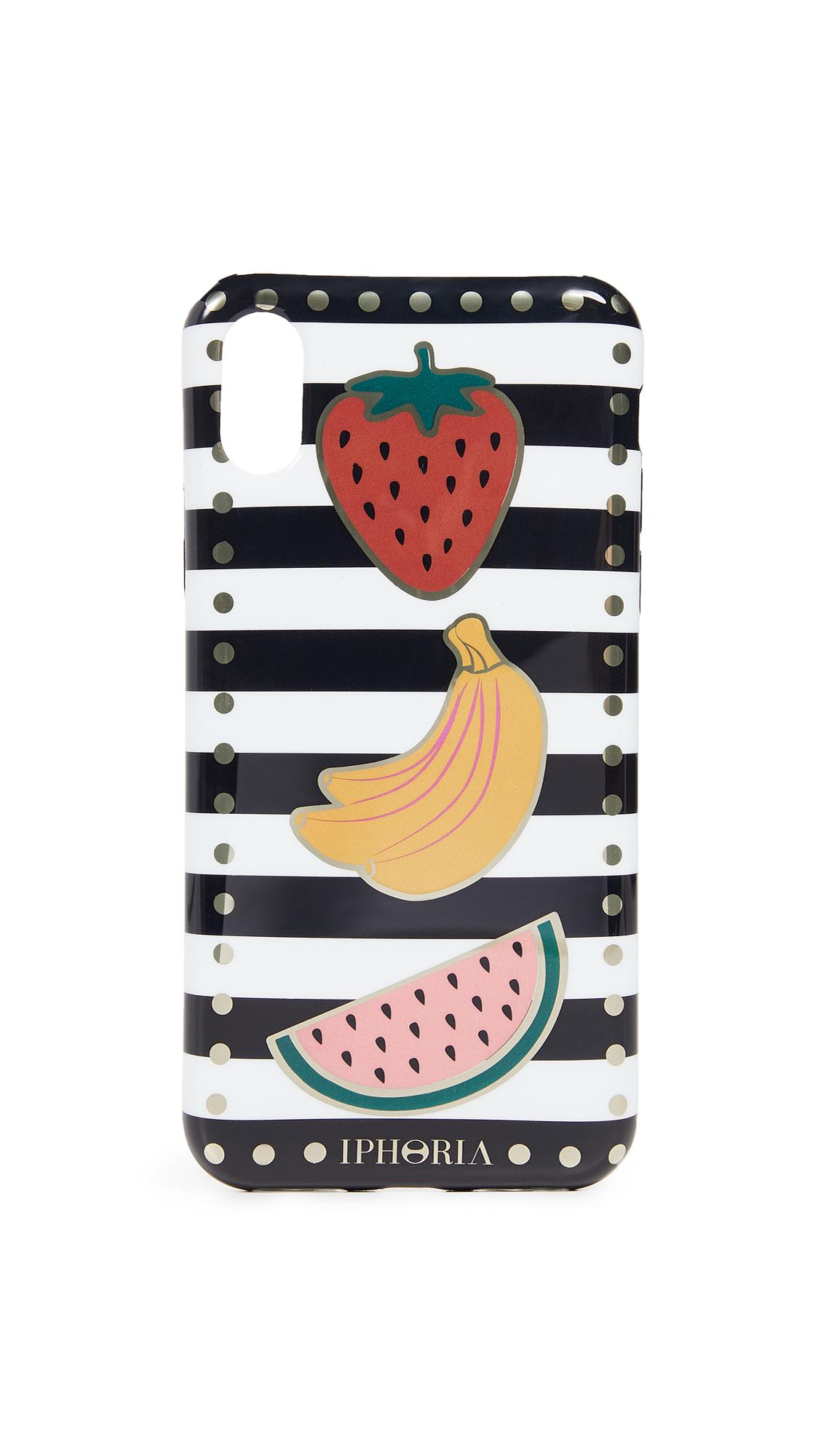 Iphoria Stripes with Fruits iPhone X Case - Black/White/Multi