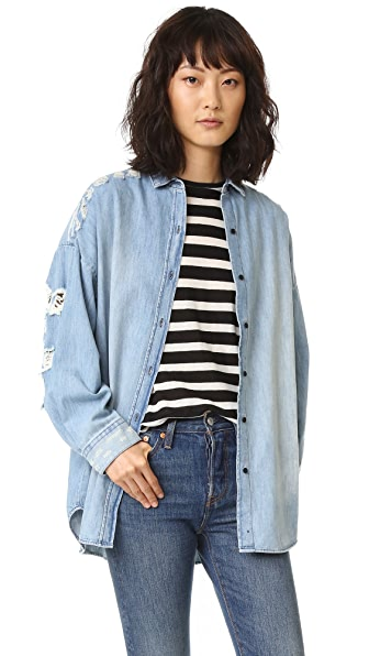 IRO.JEANS Emira Distressed Denim Shirt
