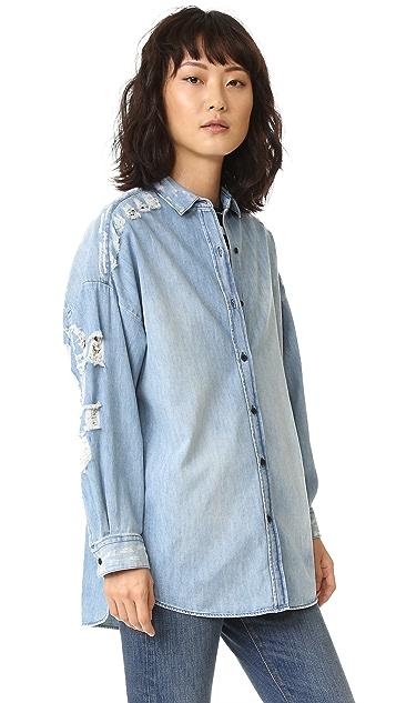 IRO.JEANS Emira Distressed Denim Shirt
