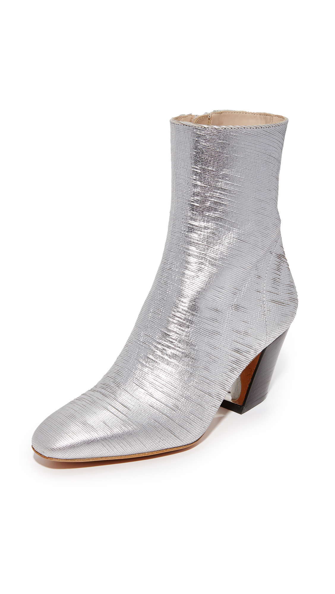 Distressing adds a unique texture to these bold, metallic IRO booties. Hidden zip secures the side. Sculpted, stacked heel. Leather sole. Leather: Goatskin. Made in Portugal. This item cannot be gift boxed. Measurements Heel: 2.5in / 65mm