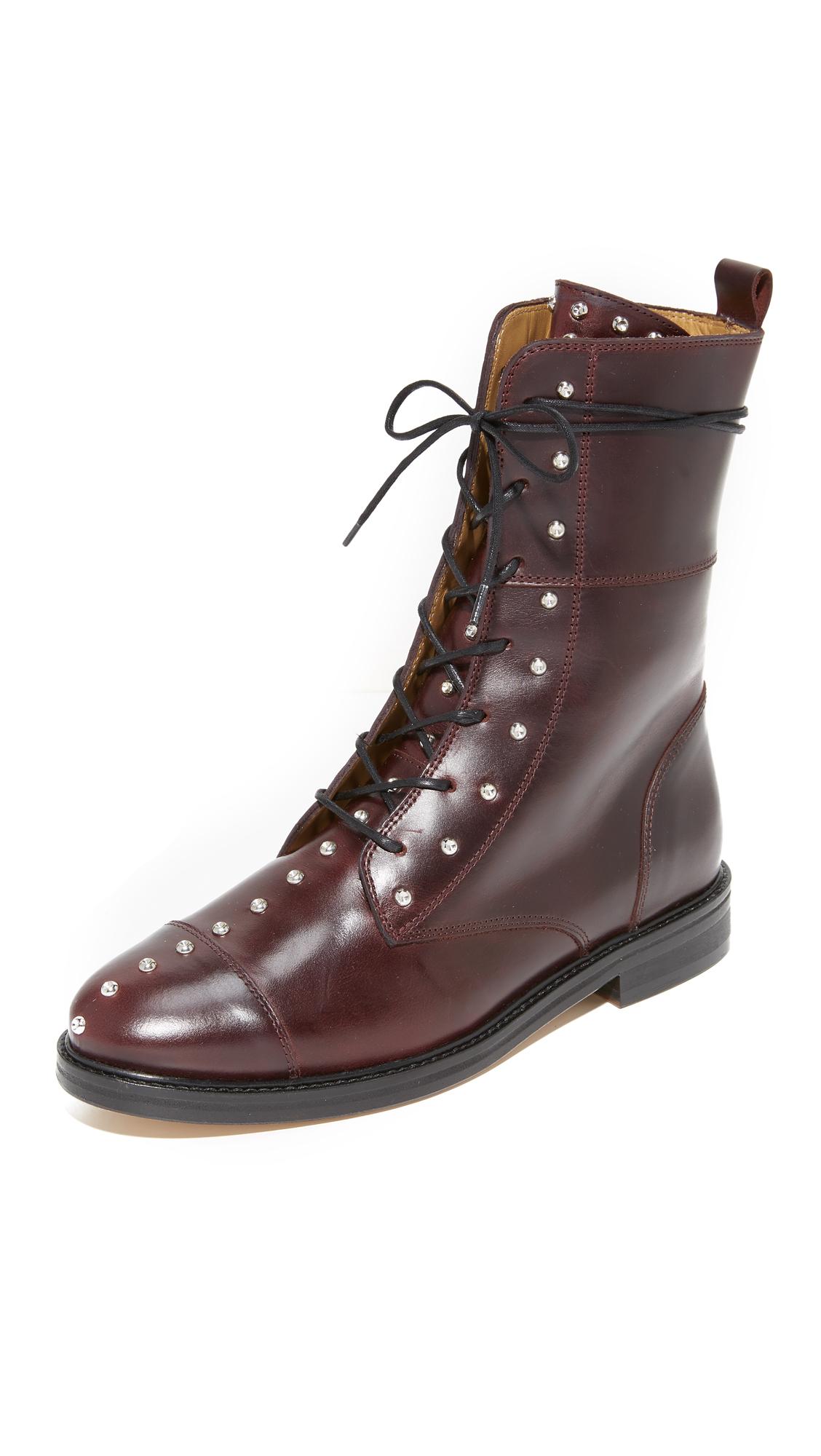 IRO Rangy Military Boots - Burgundy