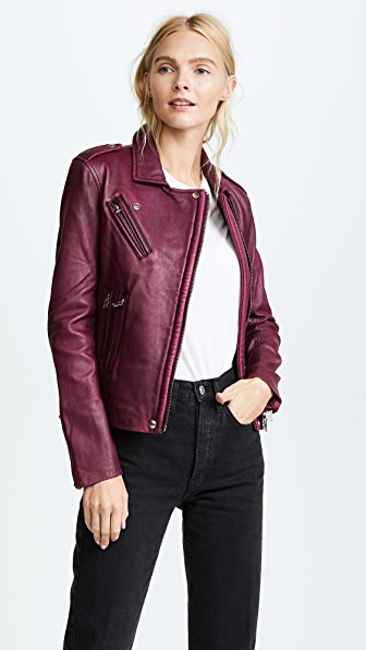 IRO Han Leather Jacket - Fuchsia/Burgundy