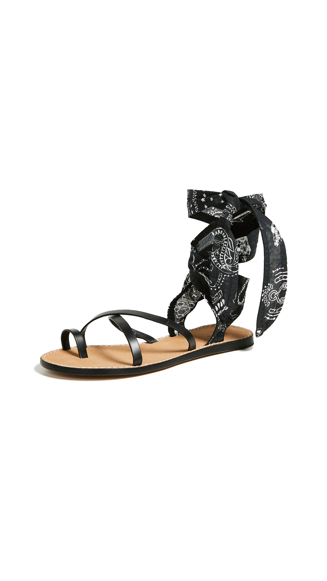 IRO Tais Bandana Wrap Sandals - Black