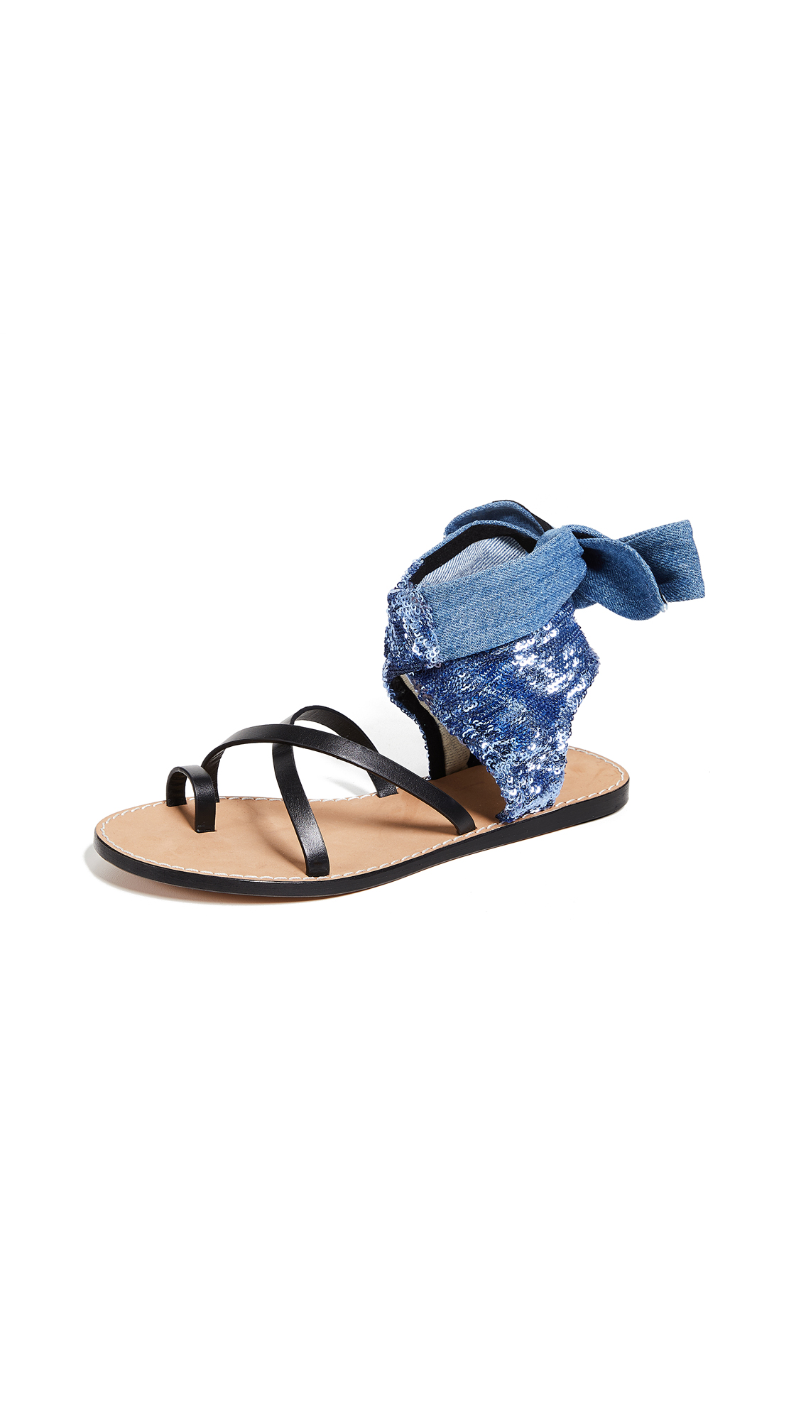 IRO Talita Sequin Wrap Sandals - Blue