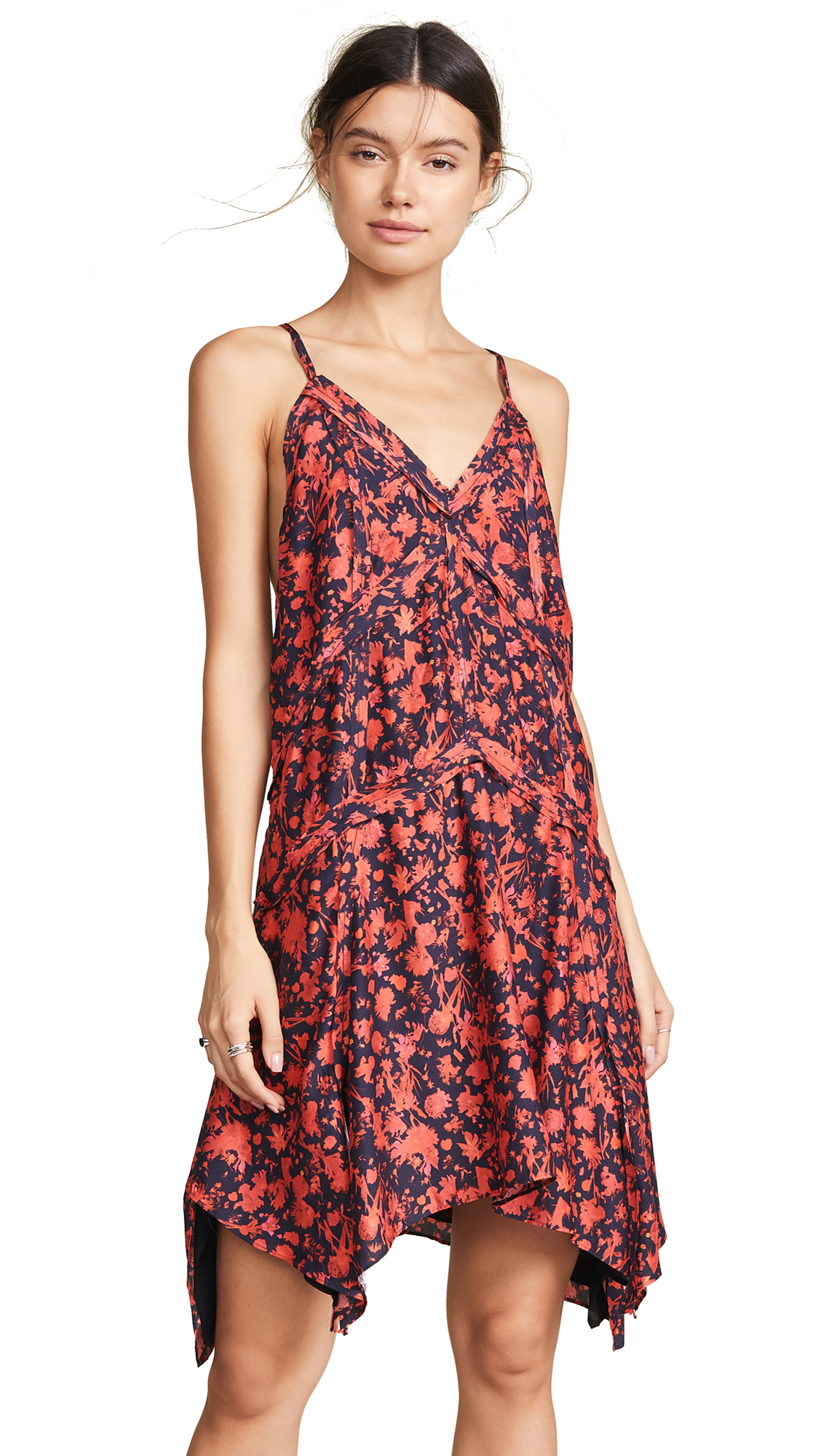 Soul Floral-Print Twill Mini Dress, Black/Red
