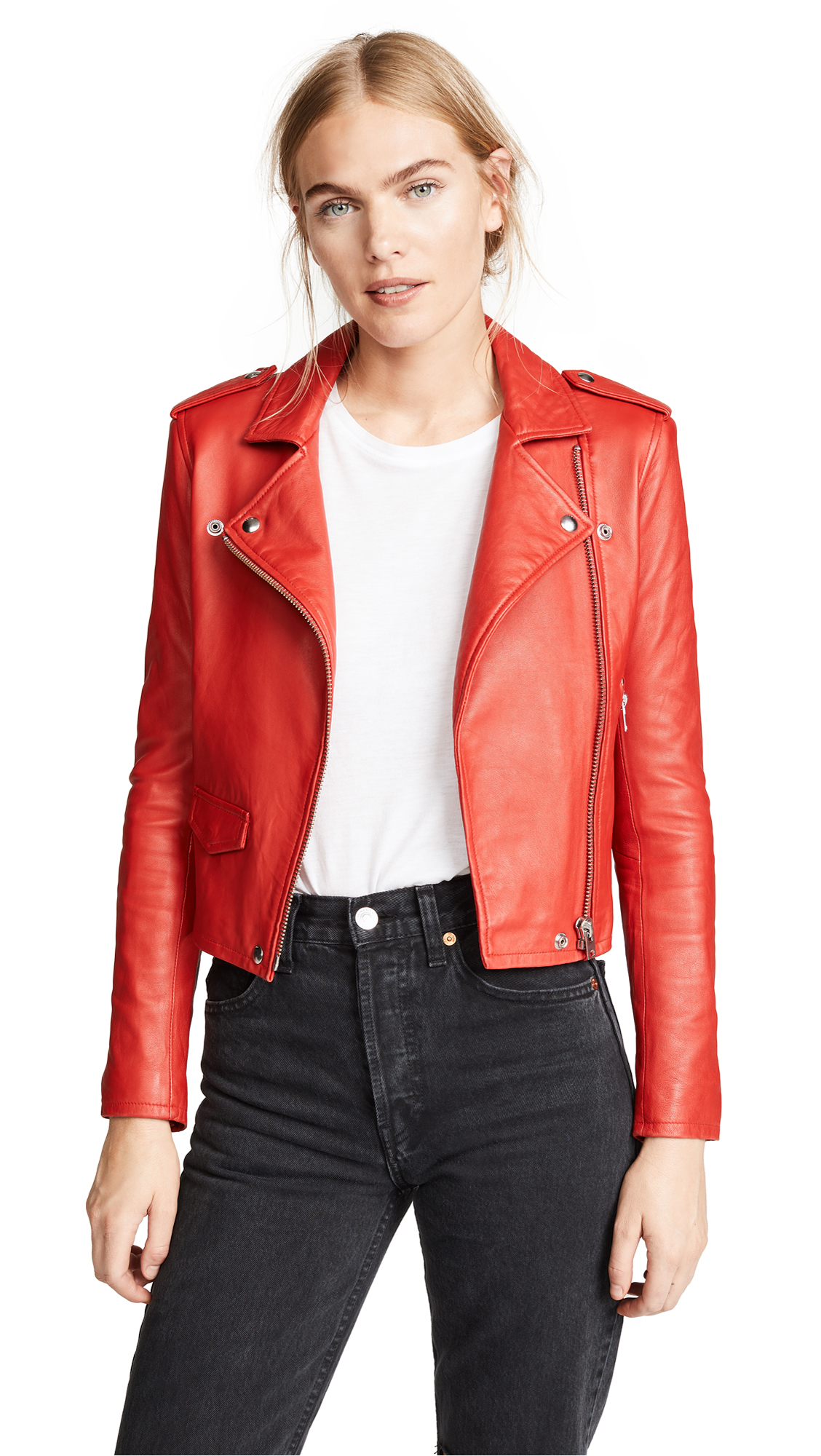 IRO Ashville Leather Jacket In Poppy Red