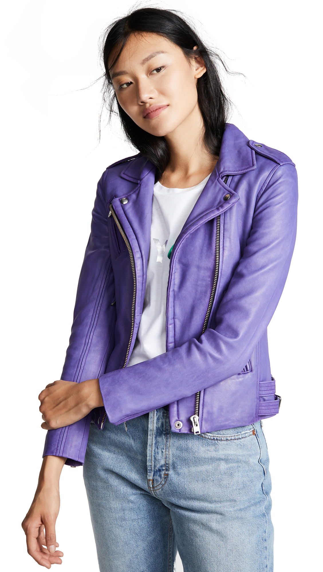 IRO Han Leather Jacket In Ultraviolet