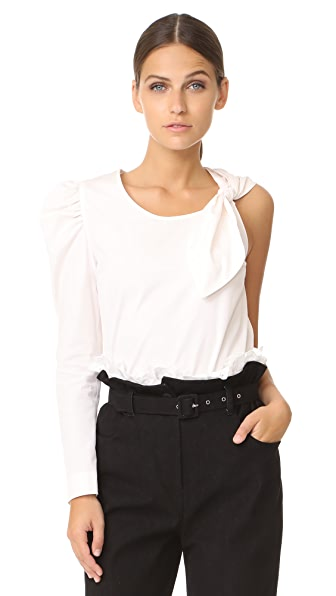 Isa Arfen One Sleeve Knot Top - Porcelain