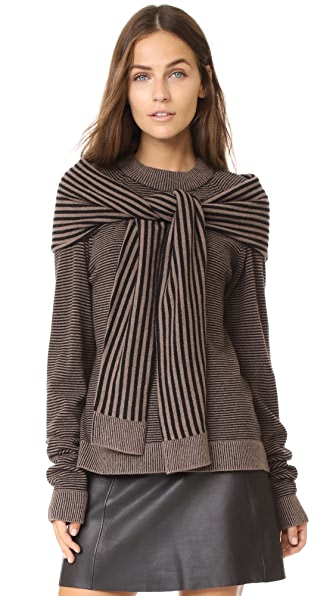 Isa Arfen Sweater with Tie In Tiramisu