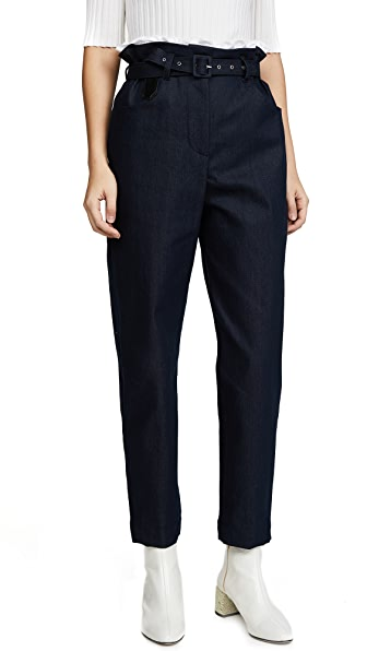 Isa Arfen Paperbag Trousers In Navy