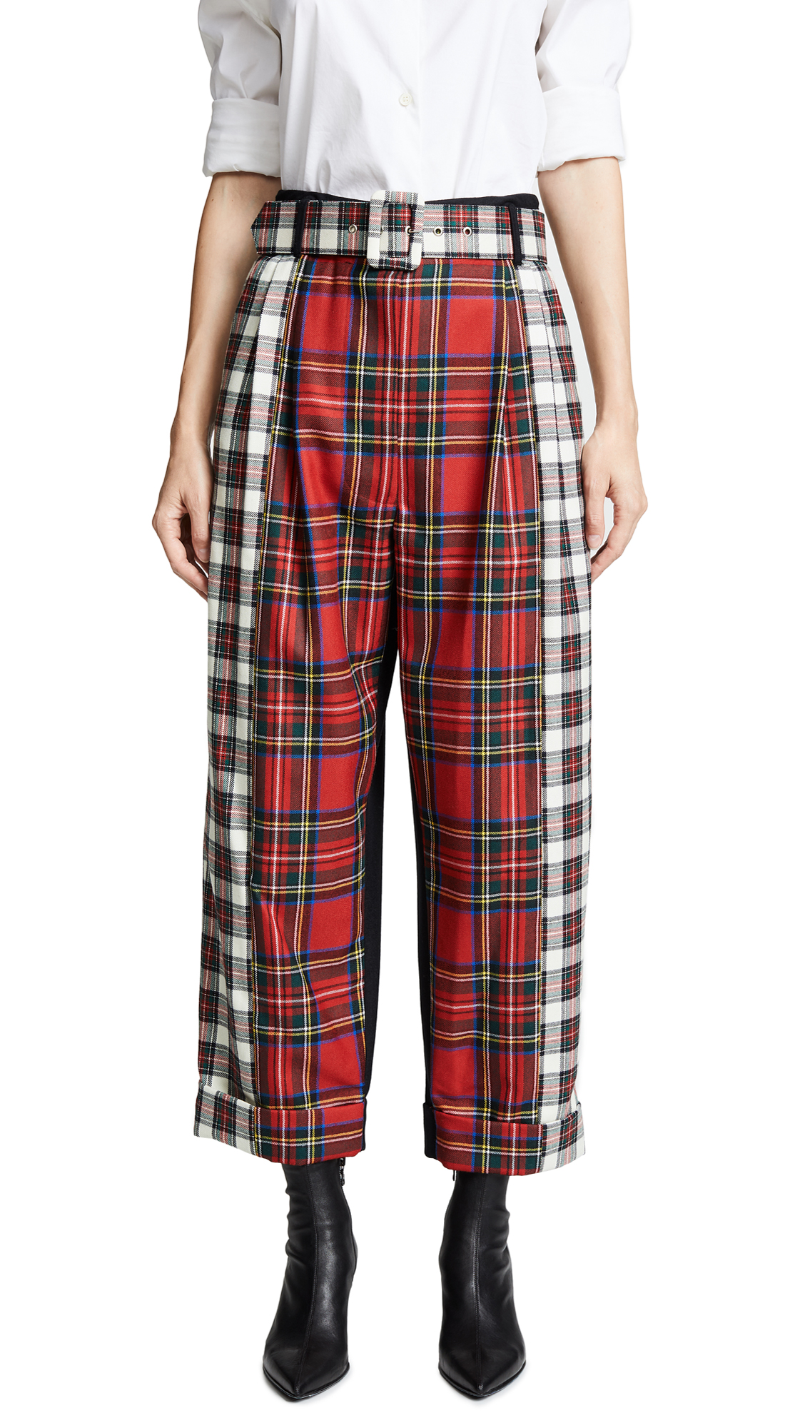ISA ARFEN CONTRAST BELTED TROUSERS