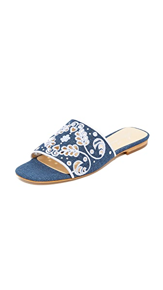 Isa Tapia Nerine Slides - Denim Blue/White