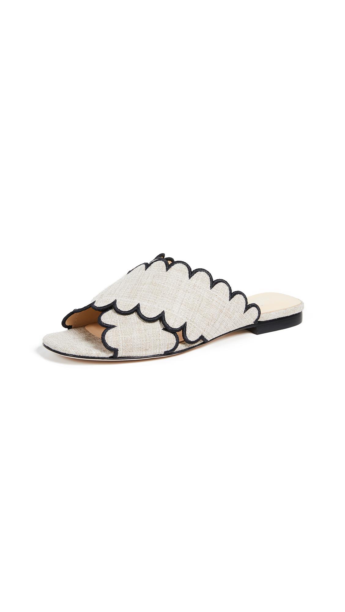 Isa Tapia Nueva Scalloped Slide Sandals - Natural