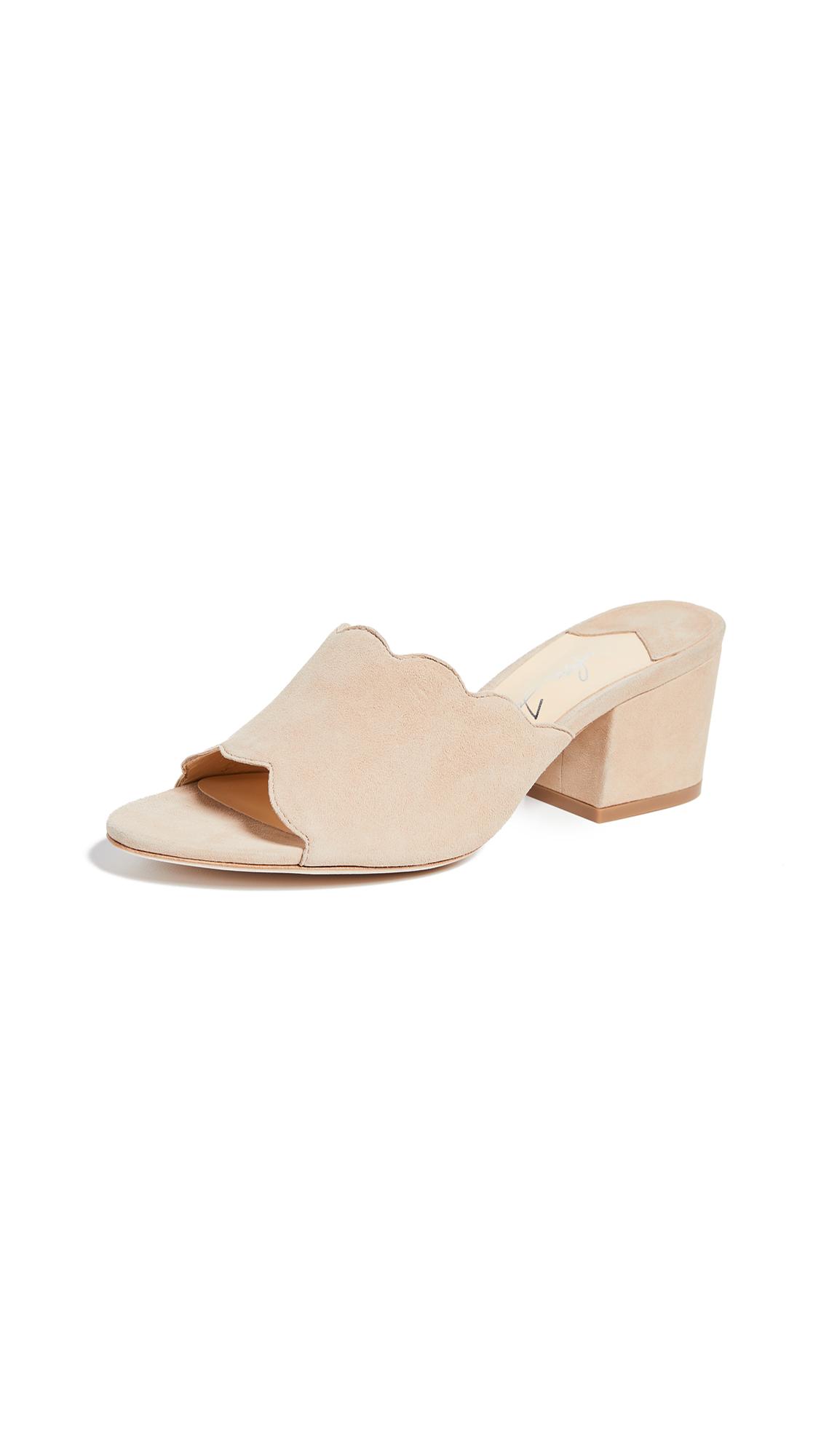 Isa Tapia Chiqui Scalloped Block Heel Slides - Suntan