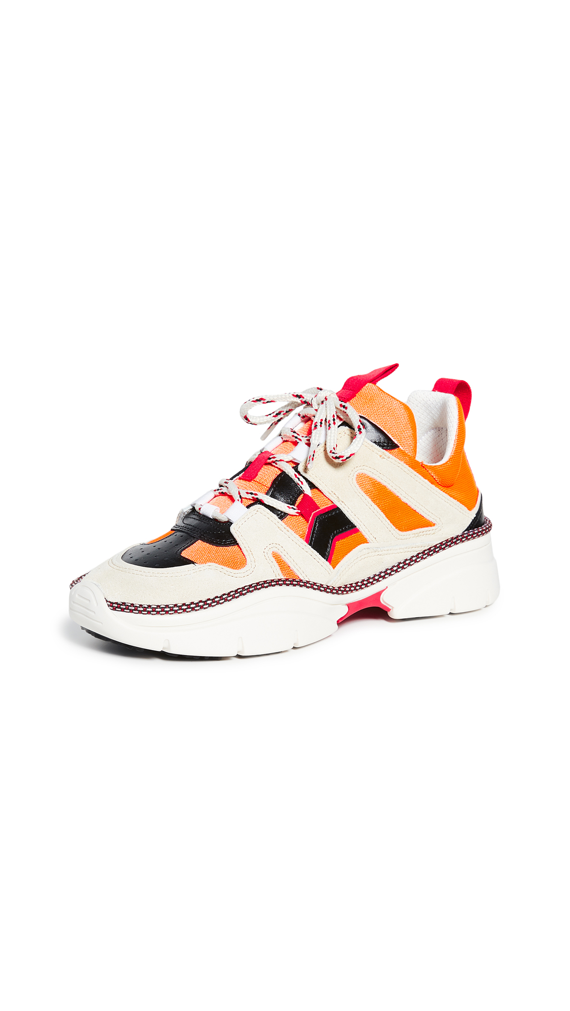 Isabel Marant Kindsay Suede, Leather And Mesh Sneakers In Orange