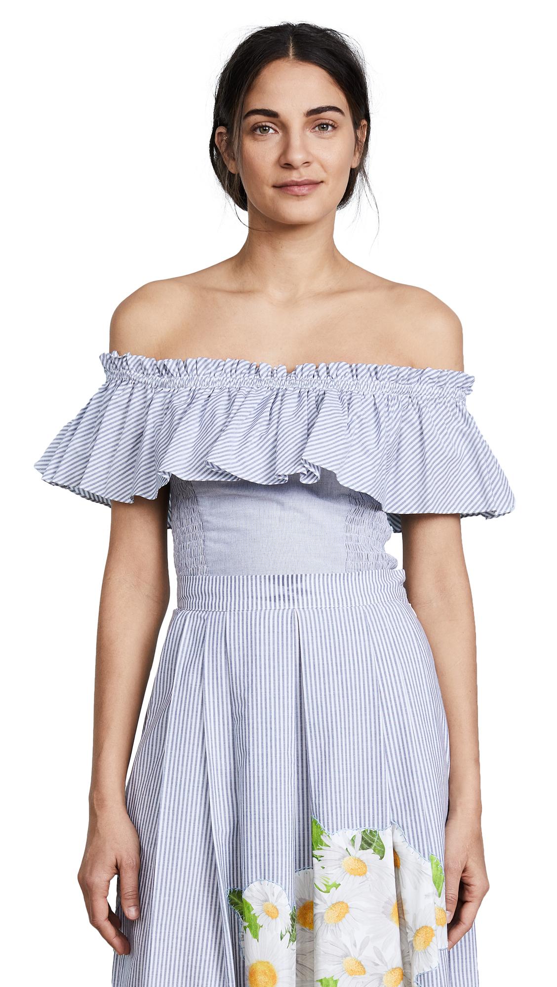 Isolda Amanda Striped Crop Top - Blue/White