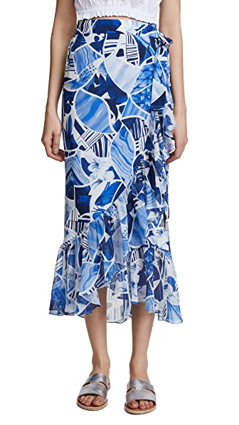 Isolda Carmen Skirt In Blue Ceramic