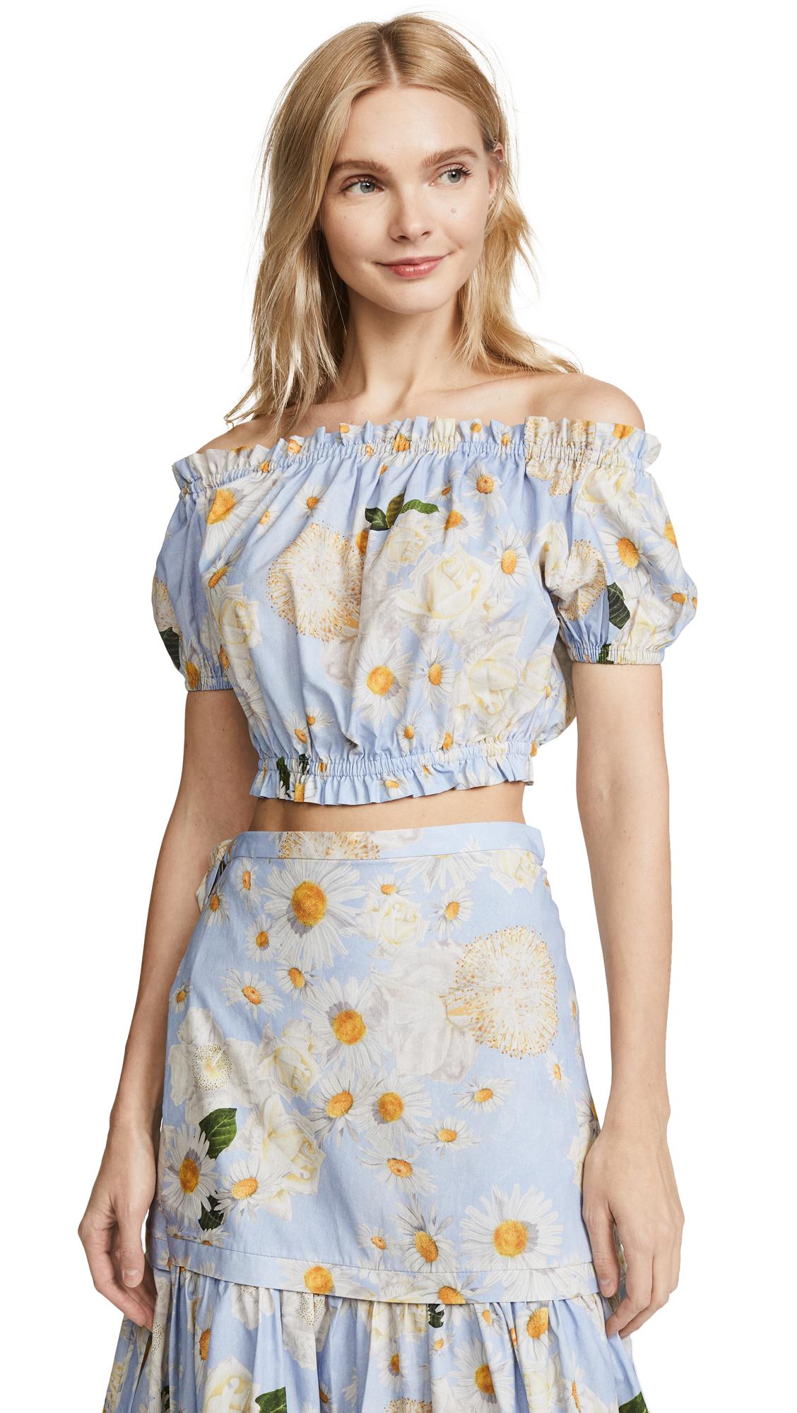 Isolda Ella Crop Top - Blue Floral
