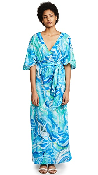Isolda Cover Up Maxi Dress In Bluewater